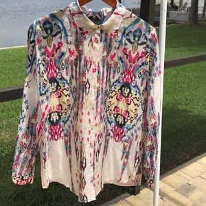 Johnny was silk shirt with eyelet embroidered back